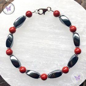 Hematite & Red Jasper Bracelet